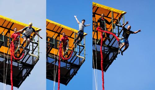 people bungee jumping