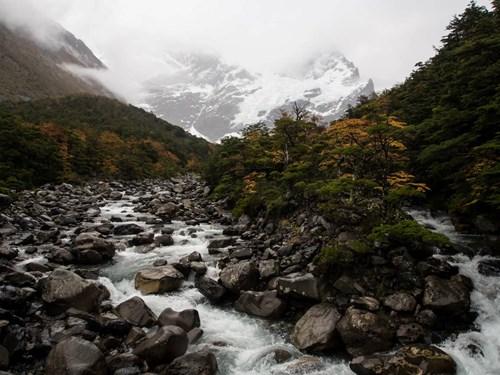 River running through valley